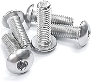 Button Head Socket Cap Bolts Screws M5-0.8x10mm 304 Stainless Steel 18-8 Bright Finish, 200 PCS by Eastlo Fastener Fully Machine Thread 6mm to 100mm Available