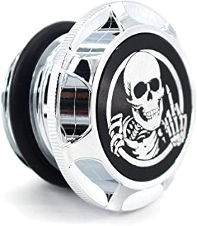 GUAIMI CNC Aluminum Fuel Gas Tank Oil Cap For Harley Davidson Sportster XL 1200 883 X48 Dyna - Skeleton Middle Finger (Chrome)