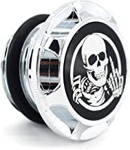 CNC Aluminum Fuel Gas Tank Oil Cap For Harley Davidson Sportster XL 1200 883 X48 Dyna - Skeleton Middle Finger (Chrome)