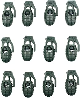 Dream DIY コード ストッパー コード ロック手榴弾型 グレネード シューレース ロック 紐止め 縄 ロープ コード ロック アウトドア サバゲー 衣類 リュックサック 靴ひも用 12個 (アーミーグリーン)