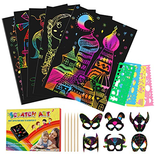 Tesoky Giochi Bambina 2 3 4 5 6 7 8 9 10 Anni, Scratch Art Bambini Regalo Bambina 3-12...