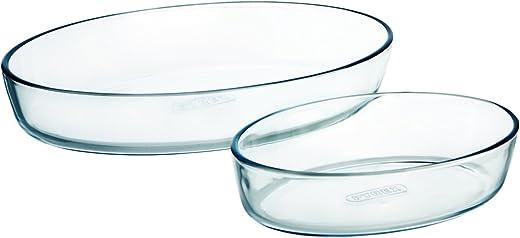 بايركس طقم صواني فرن زجاج قطعتين ، شفاف