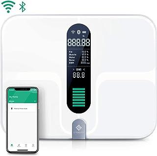 مقیاس هوشمند Etekcity WiFi ، مقیاس چربی بدن بلوتوث قابل شارژ USB - مقیاس وزن حمام دیجیتال با 12 اندازه گیری ترکیب بدن ، بستر فوق العاده بزرگ و شیشه رسانا ITO ، 400lb (180 کیلوگرم)