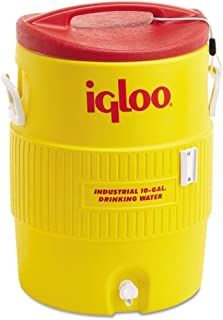 Igloo Industrial Beverage Cooler, 10 gallon, Yellow/Red/White