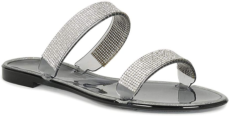 Alrisco Women Jelly Double Rhinestone Strap Flat Slide Sandal SB56 - Black (Size: 7.0)