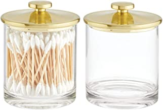 mDesign Modern Round Plastic Bathroom Vanity Countertop Storage Organizer Canister Apothecary Jar for Cotton Swabs, Rounds...