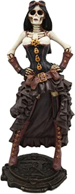 "Atlantic Collectibles Steampunk Skeleton Costume Lady Figurine 7.5"" H Skeleton Detective Inspector Baroness Sculpture"