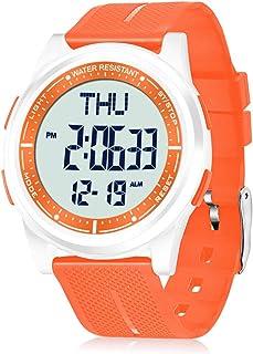 WIFORT Reloj Digital Hombre Mujer,5ATM Impermeable Esfera Grande Ultra Delgado con Cronómetro Cuenta Regresiva Alarma Tiem...
