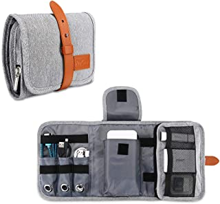 Procase Travel Gadgets Organizer Bag, Universal Electronic Accessories Cable Roll-Up Pouch Portable Gear Storage Carrying ...