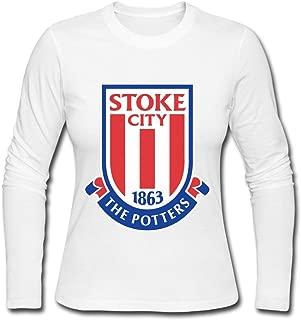 Women Stoke City Fc Logo O-Neck Long-Sleeve T-Shirt Gray By Rahk