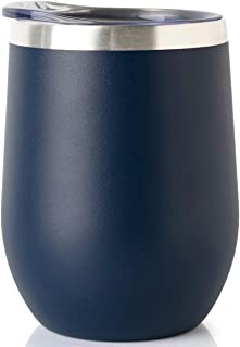 ONEB Stainless Steel Wine Tumbler with Lid, 12 OZ | Double Wall Vacuum Insulated Travel Tumbler Cup for Coffee, Wine, Cocktails, Ice Cream Cup With Lid (Navy,12OZ-1pack)
