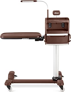 atHand Overbed Table System: The ONLY Tray Table with Organizers Storage Shelves, Charging Ports, Extra Power Outlets & Reading Lights. Table for Chair & Bed Side (Brown, Right Side)