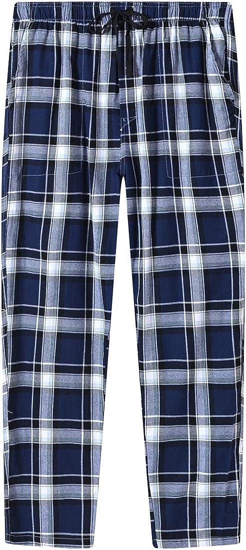 MoFiz Mens Pajama Pants Sleep Lounge Pants Soft /& Warm Cotton Plaid Sleepwear Pants