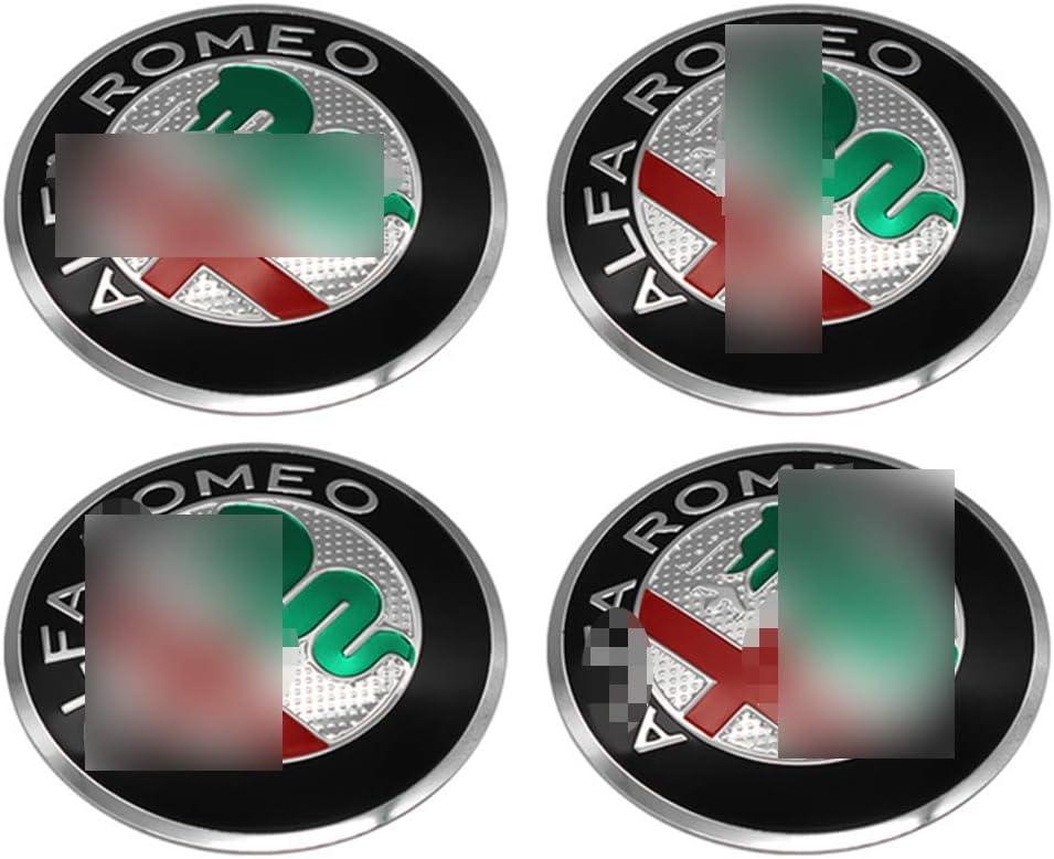 4pcs 60mm 2.36 Capuchons De Centre De Roue De Voiture Cache-Moyeux Autocollants pour Alfa Romeo Giulietta Spider GT Giulia Mito Embl/èMe De Remplacement Couvre Garniture D/éCorative De Jante De Roue