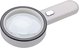 Extra Large 20X Magnifying Glass with 12 Bright LED Lights,XYK Handheld Lighted Magnifier for Reading,Inspection,Exploring,Hobbies and Macular Degeneration (White)