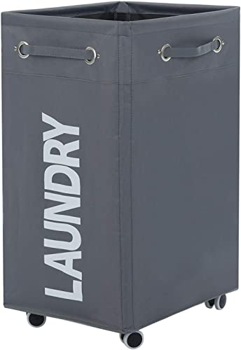 ALINK Rolling Laundry Basket with Wheels, Bathroom Laundry Hamper Large Wheeled Dirty Clothes Bin