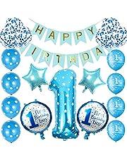 Barnkalas dekoration pojkar 1 år ballong, födelsedag dekoration blå pojke 1 år, 1. Födelsedagsdekoration set, 1 år folie ballong set, grattis på födelsedagen banner, festdekoration