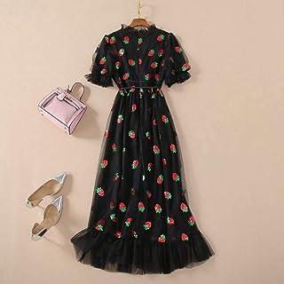 فستان طويل صيفي رائع بحزام للنساء بتصميم الفراولة واكمام قصيرة منفوشة ورقبة على شكل حرف v