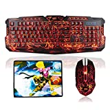 TNI Backlit Earth Crack Gaming Keyboard & Mouse Combo, 3 Programable Color, 4 Color Mouse, Mechanical Feel, 19 Keys No Conflict, Multimedia Control