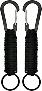 Professional Paracord Keychain with Carabiner Military Braided Survival Paracord Lanyard King Ring Hook for Keys Knife Flashlight for Outdoor Camping Hiking Backpack 2Pack