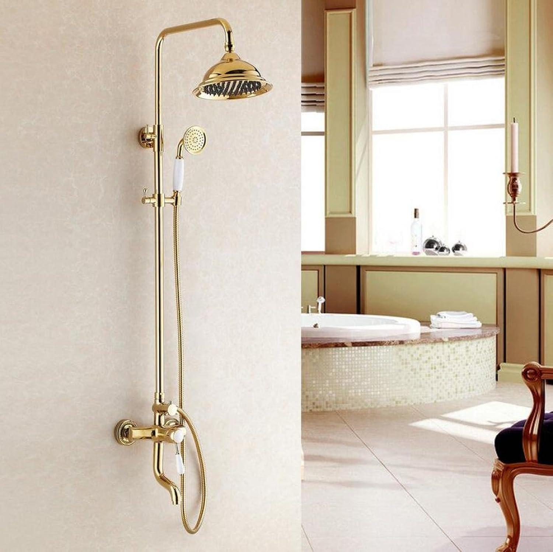 ZHFC Luxus Regen Mixer Dusche Combo Set Badezimmerwand Regen Dusche Kopf System, Gold Duscharmatur montiert