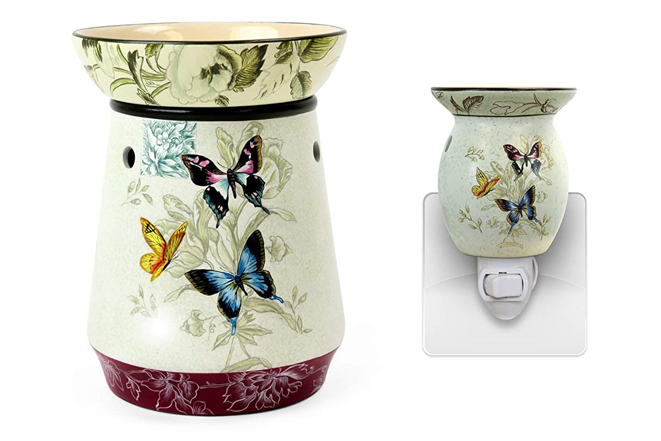 Original Candle Warmer - Electric 2-in-1 Fragrance Air Freshener - 2 Piece Ceramic Melt Tart Wax Cube Melter - Essential Oil Aroma Burner - Tall Butterfly & Rooster (Butterfly Combo Pack)