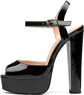 TZAMCW Women's Platform High Heels Square-Toe Block Heel Pump Shoes Size 5-14