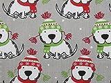 Weihnachten Hund Print Polycotton Kleid Stoff grau, Pro