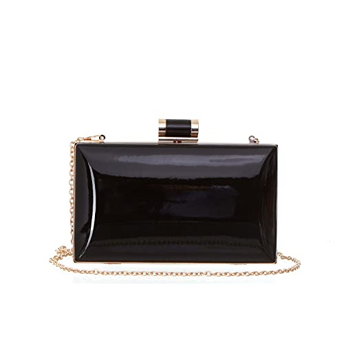 81837401fd8 Faux Patent Leather Rectangular Box Candy Clutch With Top Clasp   Chain  Strap For Women.