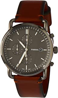 Fossil Men's Quartz Watch chronograph Display and Leather Strap, FS5523