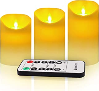 Evenice Flameless Candles Flickering LED Candles Vanilla Scented Pillar Candles Flame Remote Candles Battery Wax Decorative with Timer and 10-Key Ivory White Set of 3
