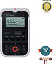 Roland R-07 High-Resolution Handheld Audio Recorder White (R-07-WH) includes Free Wireless Earbuds - Stereo Bluetooth In-ear and 1 Year Everything Music Extended Warranty