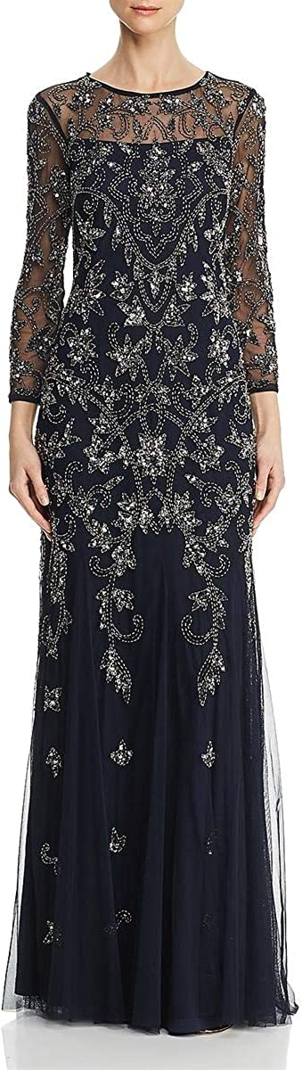 Adrianna Papell Boston Mall Women's Long Dress Super sale period limited Bead Sleeve