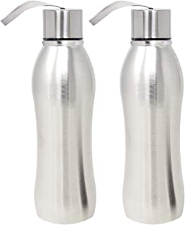 Kuber Industries Zen Stainless Steel 2 Pieces Fridge Water Bottle/Refrigerator Bottle/Thunder, 1000 ML (Sliver) - CTKTC31417