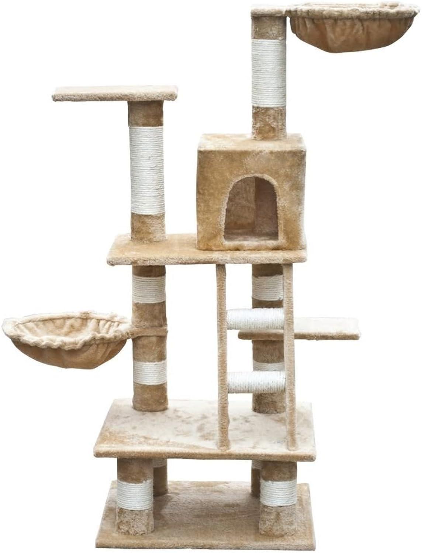 XINGLIOU Cat Scratch Post Cat Play Tree 122 cm Beige Plush Climbing Tower Activity Centre Cat Scratcher Mobilture
