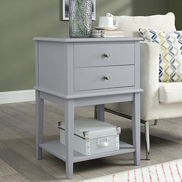 Coniffer Modern End Table Night Stand With Drawer And Storage Shelf Wood Side Table Gray And White New Gray