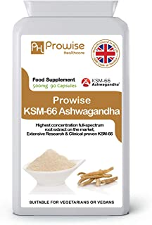 KSM-66 Ashwagandha 500mg 90 Capsules  Certified KSM-66 100% Natural Supplement   Ayurveda Formula – UK Manufactured to GMP Guaranteed Quality-Suitable for Vegetarians & Vegans by Prowise Healthcare