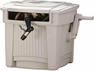 Suncast Resin Outdoor Hose Hideaway with Lid - Durable Hose Storage Reel with Crank Handle and Lid - 100' Hose Capacity - Taupe