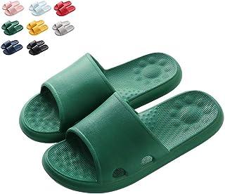 Shower Sandal Slippers, Summer Home Non-Slip Soft Bottom Home Quick Drying Bathroom for Women Men Suitable for Bathroom/Indoor Bedroom/Living Room/SPA,Green,36/37