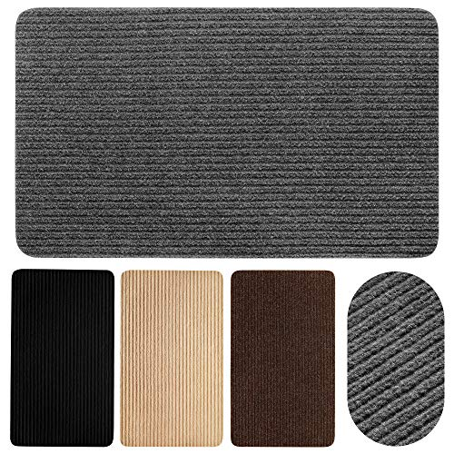 """EdenHomes Proprietary Lightweight, Durable Door Mat (29"""" x 17"""") - Easy Clean Indoor Rug, Low-Profile for Porch, Patio, Entry, Garage, Kitchen - Absorbs Dirt, Water, Sand, Mud, and Snow - Gray"""