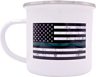 The Thin Green Line Flag Camp Mug Enamel Camping Coffee Cup Gift Military Veterans Federal Law Enforcement Officers