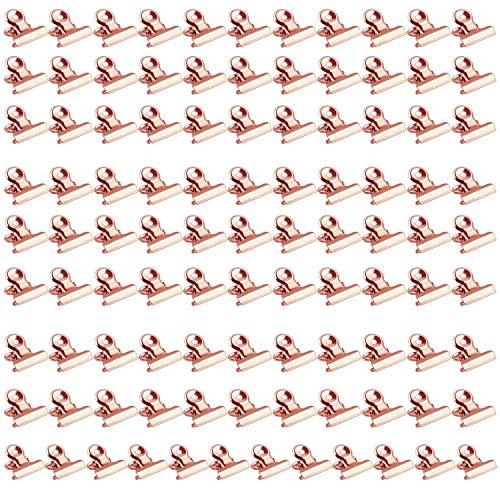 Binder Clips-Bulldogge Büroklammern,Klammern,Metall Clips, Briefklemmer Metall,100 Stück 22mm Briefklemmer Metall, klammern für fotos Papier Clips Klammern für Küche zu Hause, Büro Zubehör (Roségold)