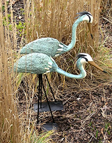 Big Sale Best Cheap Deals Ancient Graffiti Standing and Bowing Steel Heron Pair Outdoor Decor