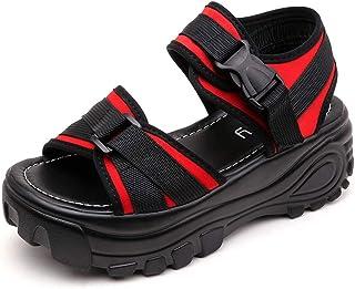 Dorical Zapatillas De Deporte De Mujer Plataforma Alta Zapatos Casuales con Cordones Tejido De Malla Colores Mezclados Damas Suela Gruesa Transpirable Chunky Sneakers Sandalias de Punta