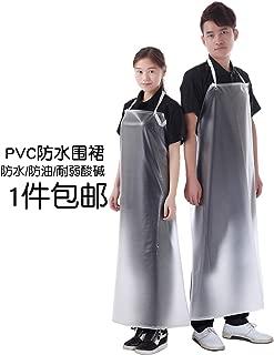 キッチンかわいいノースリーブ韓国ファッション大人のオーバーオール男性と女性のカスタムロング透明レザー防水エプロン,透明30線約120×80cm
