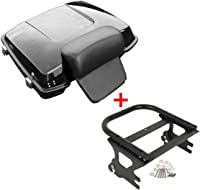 Trunk Luggage Rack Top Rail Fit for Harley Tour Pak Touring 2014-2020 SLMOTO 13.7 Tour Pak Pack Trunk W//Latch Free Liner Included + Backrest Pad