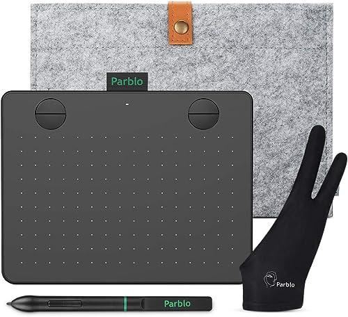 Mesa Digitalizadora Parblo A640 V2 Tablets de Design Gráfico Kit, com função de inclinação de Stylus sensibilidade de...