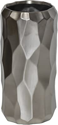 """Abstract Modern Modern Day Accents Curvisa d-Tail Vase Thin Tabletop Aluminum Decoration D/écor Silver Accessory Small Accents Glam Centerpiece 9/"""" x 3/"""" x 20/"""" Flower Arrangements"""
