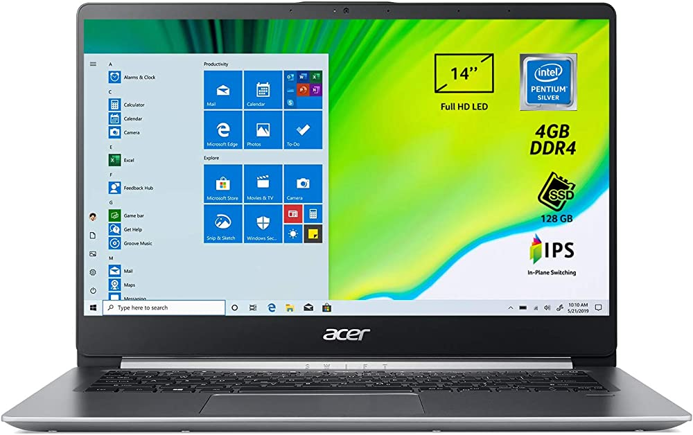 acer swift pc portatile, notebook processore intel pentium n5000, ram 4 gb, 128 gb ssd sf114-32-p25j