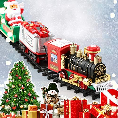 You's Auto Juego de Pequeño Tren de Navidad con Sonido Realista y Luces Tren Clásico Infantil Juguete Electrónico Decoraciones de Navidad para Niños Jardín de Infancia Festivo